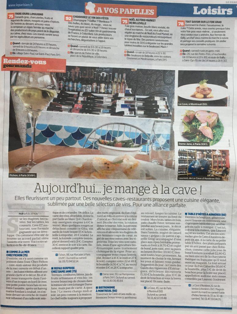 La Cave dans le Parisien