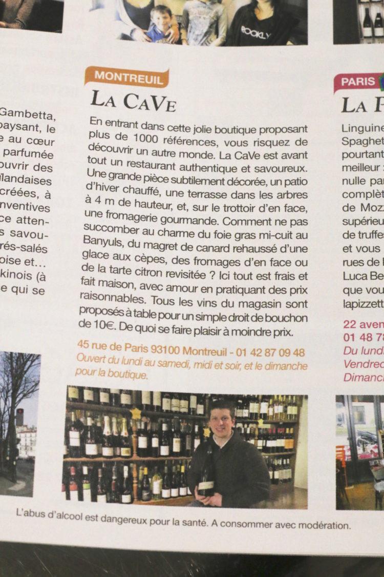 La Cave dans Paris Match !